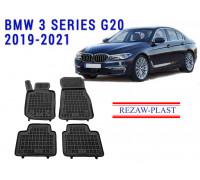 Rezaw-Plast Rubber Floor Mats Set for BMW 3 Series G20 2019-2021 Black