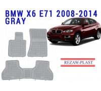 Rezaw-Plast Rubber Floor Mats Set for BMW X6 E71 2008-2014 Gray