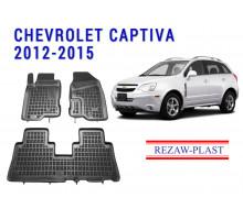 Rezaw-Plast Rubber Floor Mats Set for Chevrolet Captiva 2012-2015 Black