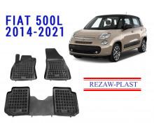 All Weather Rubber Floor Mats Set For FIAT 500L 2014-2021 Black