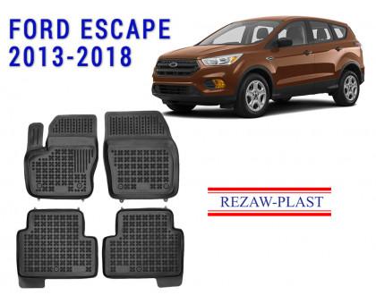 Rezaw-Plast Rubber Floor Mats Set for Ford Escape 2013-2018 Black