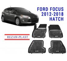 Rezaw-Plast Rubber Floor Mats Set for Ford Focus 2012-2018 Hatch Black