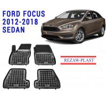 Rezaw-Plast Rubber Floor Mats Set for Ford Focus 2012-2018 Sedan Black