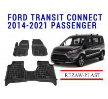 Rezaw-Plast Rubber Floor Mats Set for Ford Transit Connect 2014-2021 Passenger Black