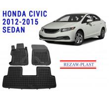 All Weather Rubber Floor Mats Set For HONDA CIVIC 2012-2015 SEDAN Black
