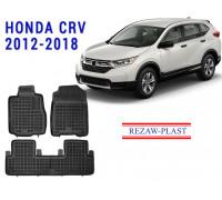 Rezaw-Plast Rubber Floor Mats Set for Honda CR-V 2012-2018 Black