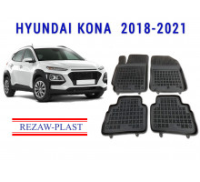 All Weather Rubber Floor Mats Set For HYUNDAI KONA 2018-2021 Black