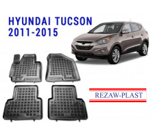 All Weather Rubber Floor Mats Set For HYUNDAI TUCSON 2011-2015 Black