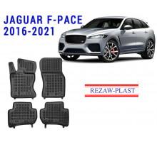 All Weather Rubber Floor Mats Set For JAGUAR F-PACE 2016-2021 Black