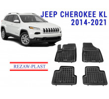 All Weather Rubber Floor Mats Set For JEEP CHEROKEE KL 2014-2021 Black