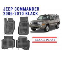 All Weather Rubber Floor Mats Set For JEEP COMMANDER 2006-2010 Black