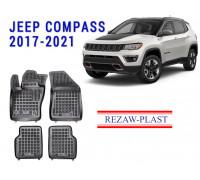 Rezaw-Plast Rubber Floor Mats Set for Jeep Compass 2017-2021 Black