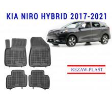 All Weather Rubber Floor Mats Set For KIA NIRO HYBRID 2017-2021 Black