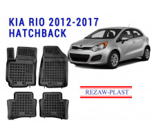 All Weather Rubber Floor Mats Set For KIA RIO 2012-2017 HATCHBACK Black