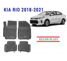 All Weather Rubber Floor Mats Set For KIA RIO 2018-2021 Black