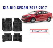 All Weather Rubber Floor Mats Set For KIA RIO SEDAN 2012-2017 Black