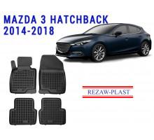 Rezaw-Plast Rubber Floor Mats Set for Mazda 3 Hatchback 2014-2018 Black