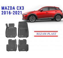 Rezaw-Plast Rubber Floor Mats Set for Mazda CX3 2016-2021 Black