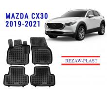 Rezaw-Plast Rubber Floor Mats Set for Mazda CX30 2019-2021 Black