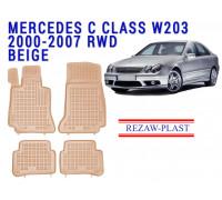 Rezaw-Plast Rubber Floor Mats Set for Mercedes C Class W203 2000-2007 Beige