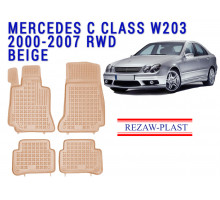 All Weather Rubber Floor Mats Set For MERCEDES C CLASS W203 2000-2007 Beige