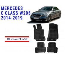 All Weather Rubber Floor Mats Set For MERCEDES C CLASS W205 2014-2019 Black