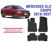 Rezaw-Plast Rubber Floor Mats Set for Mercedes GLC Coupe 2016-2021 Black