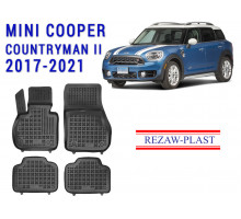 All Weather Rubber Floor Mats Set For MINI COOPER COUNTRYMAN II 2017-2021 Black
