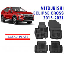 All Weather Rubber Floor Mats Set For MITSUBISHI ECLIPSE CROSS 2018-2021 Black