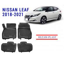 All Weather Rubber Floor Mats Set For NISSAN LEAF 2018-2021 Black