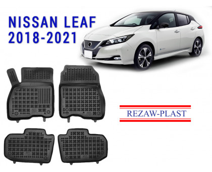 Rezaw-Plast Rubber Floor Mats Set for Nissan Leaf 2018-2021 Black