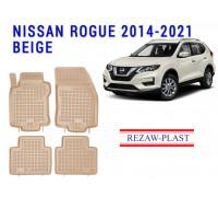 All Weather Rubber Floor Mats Set For NISSAN ROGUE 2014-2021 Beige