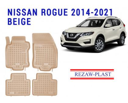 Rezaw-Plast Rubber Floor Mats Set for Nissan Rogue 2014-2021 Beige