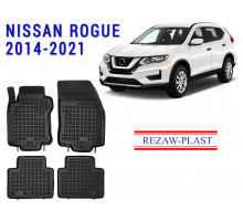 All Weather Rubber Floor Mats Set For NISSAN ROGUE 2014-2021 Black