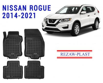 Rezaw-Plast Rubber Floor Mats Set for Nissan Rogue 2014-2021 Black