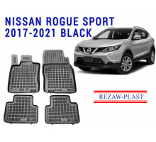 All Weather Rubber Floor Mats Set For NISSAN ROGUE SPORT 2017-2021 Black