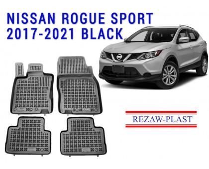Rezaw-Plast Rubber Floor Mats Set for Nissan Rogue Sport 2017-2021 Black