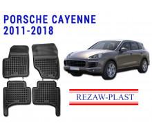 All Weather Rubber Floor Mats Set For PORSCHE CAYENNE 2011-2018 Black