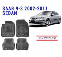 All Weather Rubber Floor Mats Set For SAAB 9-3 2002-2011 SEDAN Black