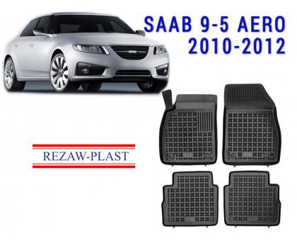 Rezaw-Plast Rubber Floor Mats Set for Saab 9-5 Aero 2010-2012 Black