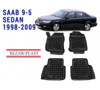 All Weather Rubber Floor Mats Set For SAAB 9-5 SEDAN 1998-2009 Black