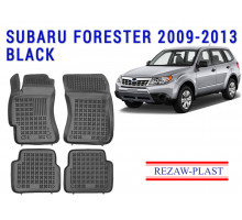 All Weather Rubber Floor Mats Set For SUBARU FORESTER 2009-2013 Black
