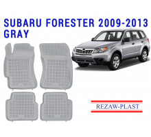 All Weather Rubber Floor Mats Set For SUBARU FORESTER 2009-2013 Gray