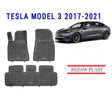 Rezaw-Plast Rubber Floor Mats Set for Tesla Model 3 2017-2021 Black
