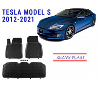 Rezaw-Plast Rubber Floor Mats Set for Tesla Model S 2012-2021 Black