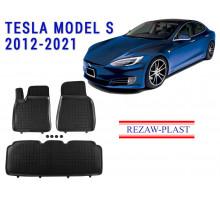 All Weather Rubber Floor Mats Set For TESLA MODEL S 2012-2021 Black