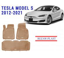 All Weather Rubber Floor Mats Set For TESLA MODEL S 2012-2021 Beige