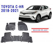 All Weather Rubber Floor Mats Set For TOYOTA C-HR 2018-2021 Black