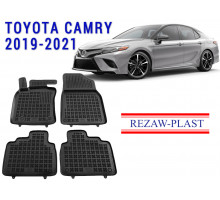 All Weather Rubber Floor Mats Set For TOYOTA CAMRY 2019-2021 Black
