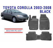 All Weather Rubber Floor Mats Set For TOYOTA COROLLA 2003-2008 Black